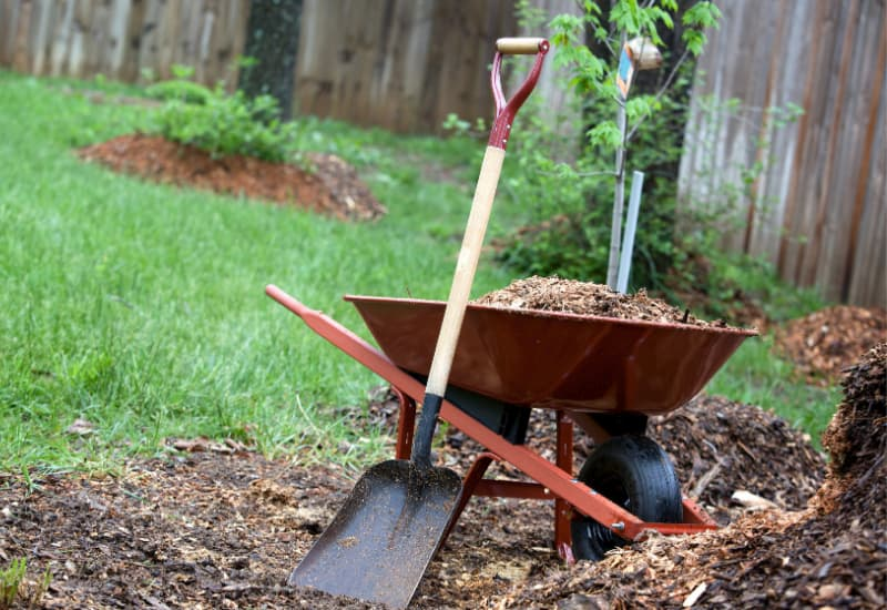 Mulch and soil with wheel barrel and shovel